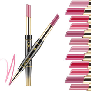 24 Hours Long Lasting 2in1 Lipstick Fashionable Useful Waterproof Double-side Matte Lip Liner Double-end Makeup Lipstick Pencils
