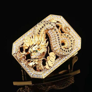 Dragon Design Stainless Steel Full Diamond Smooth Buckle For Men 3.7-3.8cm Waist Belt Leather Belt Buckle Waist Band Buckle