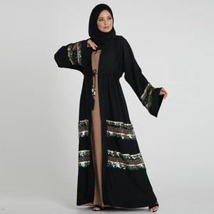 INS Nouveau style musulman Abaya Panel Sequin Mode Dubaï Turquie Cardigan Robe 1811