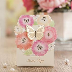50 pcs doces do casamento da borboleta caixa de ouro Eventos fontes do partido caixa de presente favores do casamento de luxo Decoração Candy Box Papel Laser