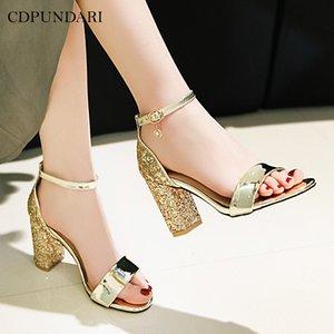 CDPUNDARI Or Argent Mesdames talons hauts sandales femmes chaussures d'été femme sandalias mujer femme Big Taille sandales R06