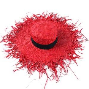 Raphia chapeaux de soleil rugueux Edges large Brim chapeaux de paille Fashion Flat Top Red Beach