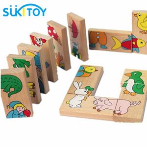 Bebek 16cm * 3 cm * 1cm için Ahşap Puzzle Oyuncak Sukitoy 15pcs Hayvan Domino Bulmaca Çocuk Yumuşak Montessori Ahşap Puzzle Oyuncak Seti Yüksek Kalite Hediye