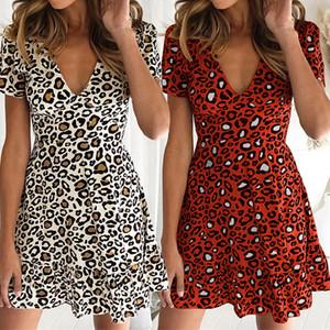 Print Leopard Dress Sexy Women Short Sleeve V Neck Mini Ruffle Hem High Waist Mini A Line Casual Summer Dress Size S-XL Drop Shipping