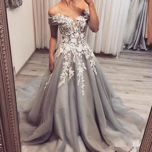 2020 gris plata nueva vendimia vestidos de boda del hombro apliques de tul una línea Vestidos de novia de encaje barrido Vestido de boda por encargo del tren