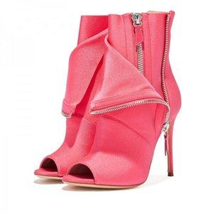 Botines peep toe postal rosada veces por encima del talón de estilete botas del tobillo de las mujeres sandalias de tacón alto botas de Gran Tamaño 34-46