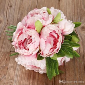 B Wedding Bouquet European style 5 heads bouquet peony artificial flower silk peony artificial wedding bride holding flowers SP06