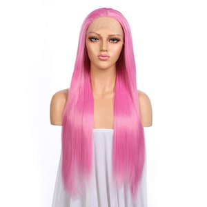 Pink Hair Transparent Lace Front Women Wig 24 Inches Silky Straight Hand Tied Synthetic Heat Resistant Fiber Hair Adjustable Strap