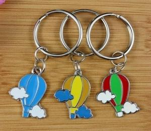 Misch10pcs Weinlese-Silber-Emaille-Heißluft-Ballon-Charme Keychain Schlüsselring Auto-Schlüsselring Souvenir Paar Zubehör Z179