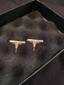 Fashion Hoop Pearl Gold Stud Pendientes aretes orecchini para las mujeres fiesta boda compromiso amantes regalo joyería con caja
