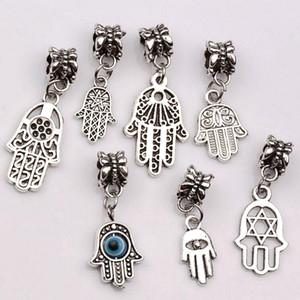 Grosses soldes ! 100pcs antique alliage d'argent mélange Hamsa main Dangle Fit Bracelet à breloques DIY bijoux