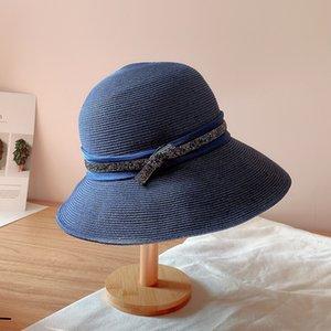 sAliw Verão 2020 palha Balde pescador palha praia Diamante luz de tira infantil fio fita exterior protetor solar guarda-sol chapéu bacia