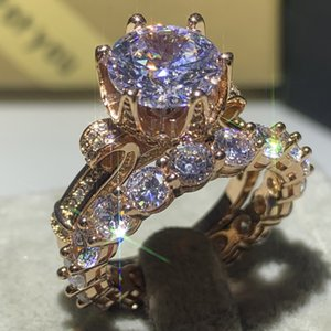 925 Gift Top Bridal Jewelry Choucong Sterling Silver&Rose Gold Round Fill Cut White Topaz Promise Wedding Luxury Ring For Women Wholesa Elfp
