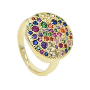 2019 VENDITA CALDA Geometrica Rotonda Big full Finger Ring mirco pavimenta arcobaleno mini cz Boho Donne Etniche Hippie gioielli in oro dito partito