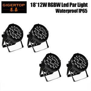TIPTOP 4XLOT impermeabile LED 18x12W par luce, 12W RGBW luce par del LED, IP65 Outdoor LED Par Can illuminazione della fase Visualizza DMX 4 / Dual Mode 8CH