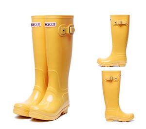 Sıcak satış-yağmur çizme Kadın moda Diz-yüksek boylu yağmur botları İngiltere tarzı su geçirmez welly çizmeler Lastik su ayakkabı rainshoes rainboots
