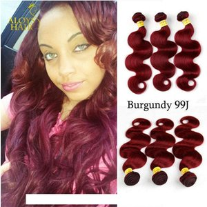 A C Burgundy Wine Red 99j Brazilian Body Wave Virgin Human Hair Weave Bundles Peruvian Malaysian Indian Cambodian Mongolian Hair Extens