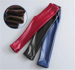 2018 Neonate Leggings Inverno Bambini Leggings in velluto di spessore Pantaloni a matita Bambini Pantaloni caldi Faux PU Legging Leg Slim Pant