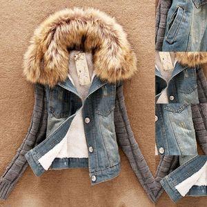 Moda-Atacado-Inverno Mulheres Moda Denim Knittes Jaqueta de Manga Longa Casaco de Peles Gola de Peles Movimentável Jaqueta Bomber Jean Feminino Básico Casacos