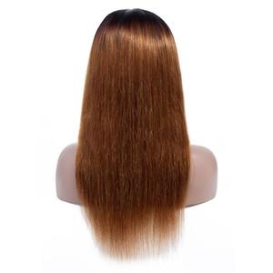 150% Densité 1B / 30 Ombre 4x4 Dentelle Fermeture Cheveux Perruques droites Ombre Pré plumé avant de dentelle perruque brésilienne Vierge cheveux