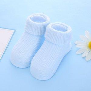 Yenidoğan Unisex Casual Çorap Yenidoğan Bebek Katı Renk Çorap Çocuk Kaymaz Saf Pamuk Kat