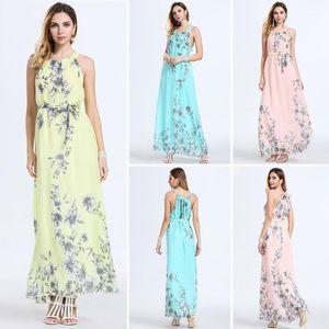 Dresses Fashion Crew Neck Bow Irregular Dress 2020 Women Designer Floral Dress Summer Slim Sleeveless Print