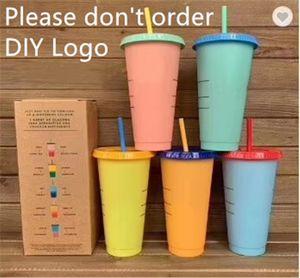 710ml Cambiare colore Tazze Magiche plastica Bere Bicchieri Coppa con coperchio di paglia colori della caramella riutilizzabili bevande fredde bottiglia d'acqua Tazza di caffè