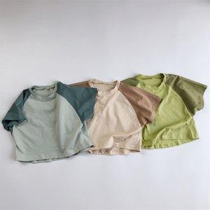 Fashions HX INS Meninos Meninas Tees Patchwork Cotton Tops Qualidade do verão camisetas Pure Qualidade Crianças Meninos Tops Unisex Crianças Camisetas