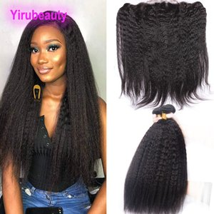 Malaysian Virgin Human Hair Wefts With 13X4 Lace Frontal With Baby Hair Kinky Straight 4 Pieces lot Bundles With Frontal Closure Wholesale