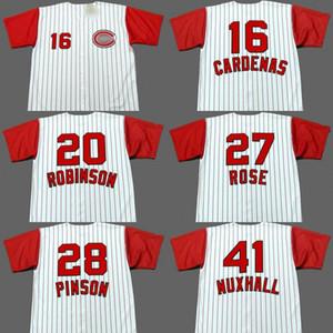 Джерси бейсбола Чикаго 28 Вада Пинсон 16 LEO КАРДЕНАС 27 ПИТ ROSE 20 FRANK ROBINSON 41 Джо Наксхолла сшитый