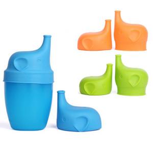 Silicone Sippy Tampas elefante em forma de taça tampa Reuseable Lid Leakproof Cup para crianças de água Garrafa Brinkware ferramentas 5 Cores LQPYW1083