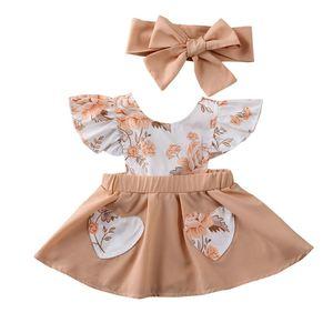 0-18M Ruffle Sleeve Dress Pocket Newborn Infant Toddler Baby Girls Flower Print Princess dresses + Headband 2pcs summer clothes