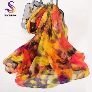 [BYSIFA] Frauen Lange Schals Winter Mode Accessoires 100% Seidenschal Frühling Herbst Marke Gelb Rot Damen Dünne Seidenschal