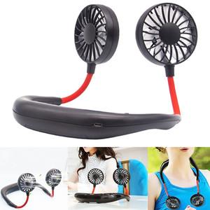 Portátil USB recarregável Neckband preguiçoso pescoço de suspensão dupla resfriamento Mini Fan esporte 360 graus ventilador girando pendurado no pescoço