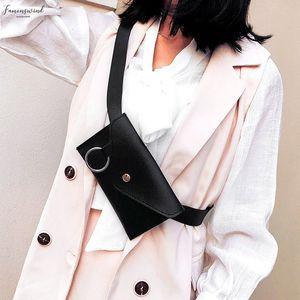 2020 Fashion Women Pure Color Ring Leather Messenger Shoulder Bag Chest Bag Multi Function Pockets Crossbody Bag