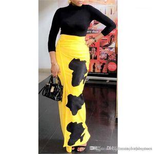 Dividir en color con vestidos de las señoras ocasionales de fiesta atractivo Ropa Mujeres Spring Print vestido femenino Sólido