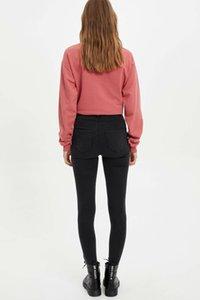 DeFacto Women Fashion Solid Jean Trousers Female Mid Waist Elastic Denim Female Slim Pencil Crop Pants Lady - L8280AZ19WN