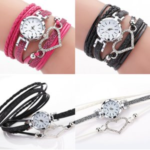 6 color ladies Love Heart watch Crystal bracelet leather watches small dial dress quartz wrist watches gift watch jewelry Wholesale GJJ215
