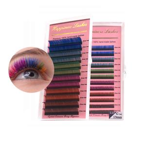 Colorful estensione del ciglio di 6 colori diversi, 3D singoli Lashes seta Mink Lashes Premium ciglia 12 linee in un vassoio HPNESS