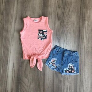bambine gilet set ragazze waiscoat corallina con i jeans floreali pantaloncini bambini bambino abiti boutique