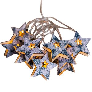 Christmas Warm White String Fairy Lights Lamp Pentagram Wood Xmas Party Decorations For Home New Year Gifts