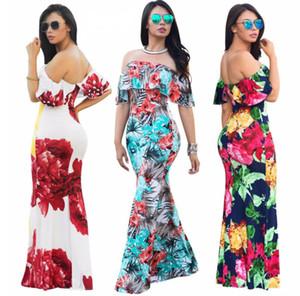 Vestido de fiesta con estampado floral fuera del hombro nueva moda de verano con volantes sin tirantes vestido maxi elegante de las mujeres sin mangas sin respaldo vestido de playa