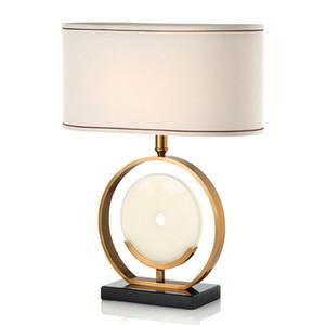 mesa de oro de estilo chino enciende la lámpara de escritorio de mármol decoración del hogar de la iluminación del wideth 45cm E27 100-240V AC