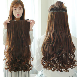 Foreign trade long curly hair one-piece ive cards to send high-temperature silk without traces to send