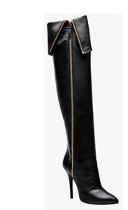 A punta lungo tubo Street Clap Cuffed Modello Catwalk Side Zipper Moda Sexy Lacca con tacco alto Stivali da donna di grandi dimensioni Spedizione gratuita