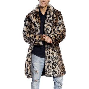 Erkek Ceket Moda Faux Fur Leopard Dış Giyim Palto Triko Kürk Yaka Ceket Erkek Giyim Isınma yazdır
