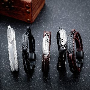 2020 Fashion Vintage Angel Wings Feather Leaves Leather bracelets & bangles Men Charm Jewelry