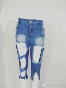 Lavato Womens Jeans con la chiusura lampo Light Blue Ripped Capris Womens pantaloni femminili Abbigliamento sexy Burrs Hole