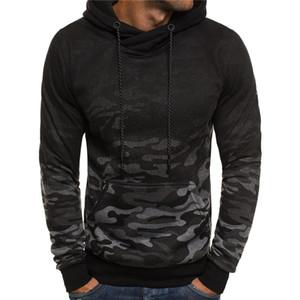Camouflage Imprimer Mens Designer Fashion Sweats à capuche en vrac Gradient Big Pocket lambrissé Hommes Chemises hommes Vêtements décontractés
