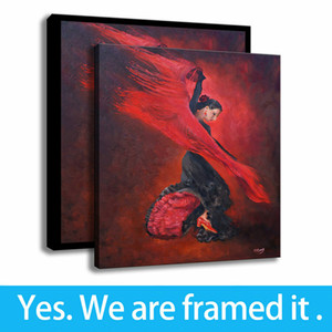 Spanish Flamenco Dancers Paintings Art Office Decor Character Art Print on Canvas - Ready To Hang - Framed